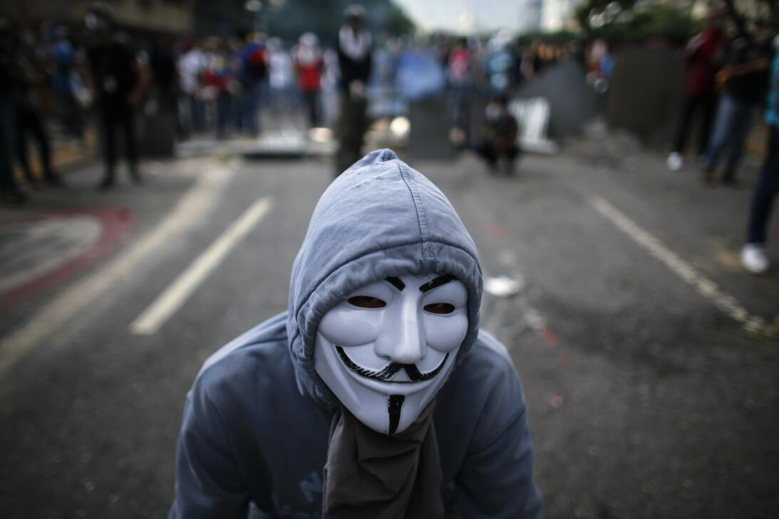 Masked demonstrators