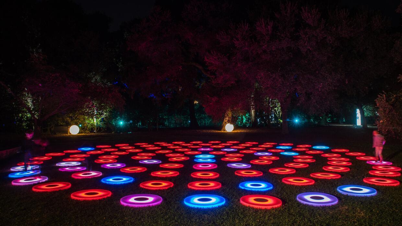 Actividad de luces interactiva en Descanso Gardens, en California.