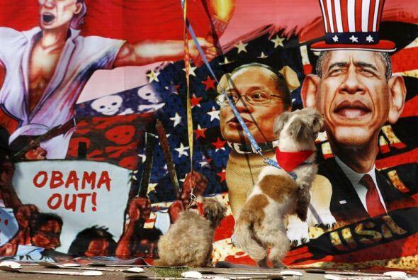 Manifestantes filipinos muestran perros durante una manifestación de pro...