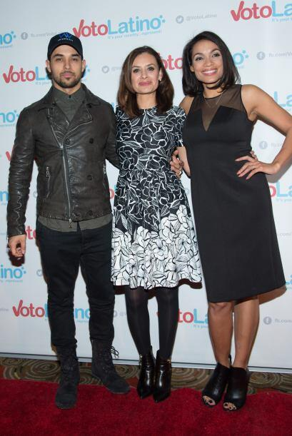 Wilmer Valderrama, Maria Teresa Kumar y Rosario Dawson
