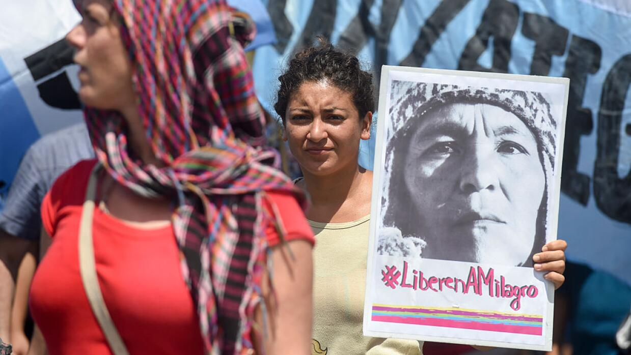 Miembros de Tupac Amaru protestan en Buenos Aires por la liberación de M...