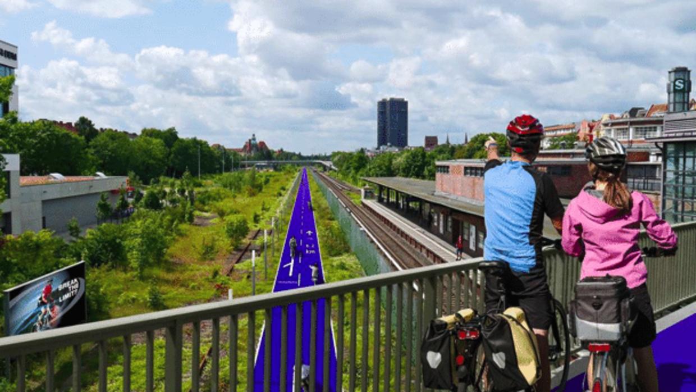 Una representación de cómo podrían verse las ciclopistas de Berlín, cort...