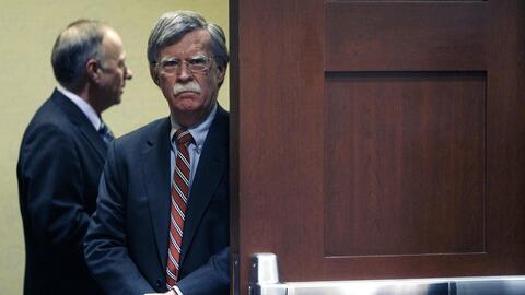 Former Ambassador John Bolton waits backstage before speaking at the Con...