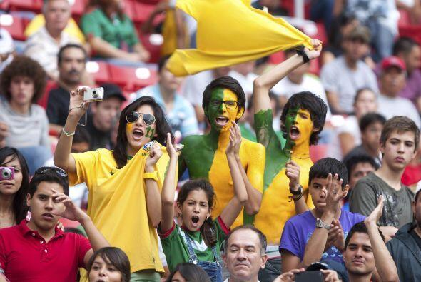 Mientras que estos jovenes fanáticos brasileños demostraro...