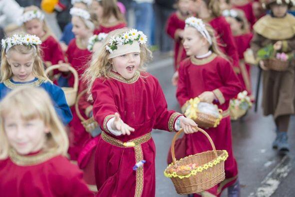 Como parte de las celebraciones del 'Sechselaeuten ' , en Zurich , Suiza.