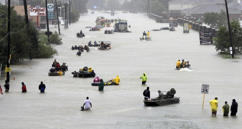 Photos from Houston, Texas: when highways turn into rivers Rescue boats...