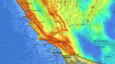 El mapa con el sistema de fallas geológicas ubica los sismos registrados...