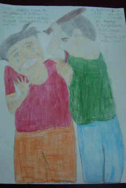 En los dibujos se muestran problemas como desnutrición, asaltos,...