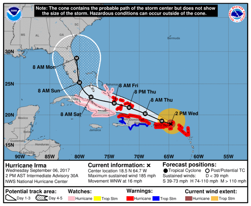The forecast track of Hurricane irma, Wednesday Sept 6