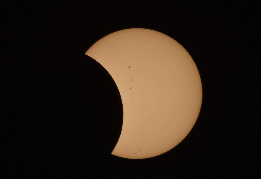 View of a partial solar eclipse as seen in Mexico City, on August 21, 20...