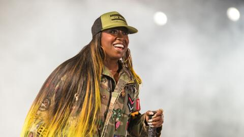 Missy 'Misdemeanor' Elliott performs on stage on the first day of FYF Fe...