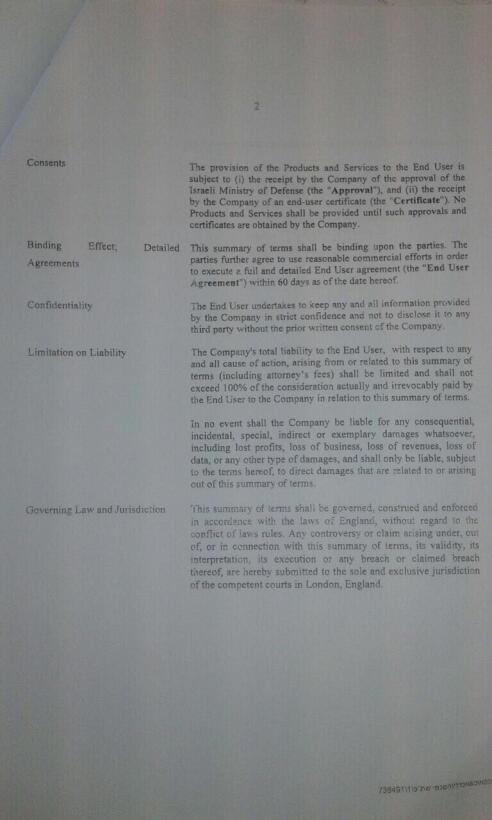 Segunda pagina de los términos del contrato para adquirir Pegasus por pa...
