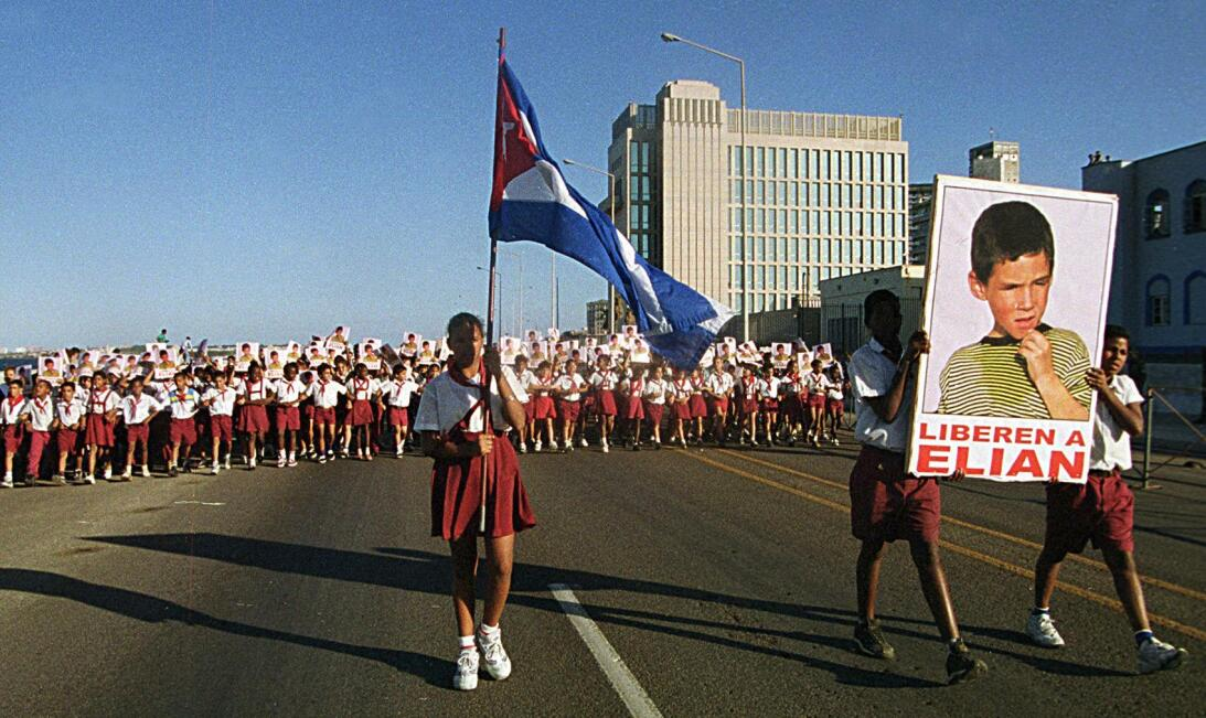Cuban Pioneers march along with some 300,000 demonstrators in Havana 09...