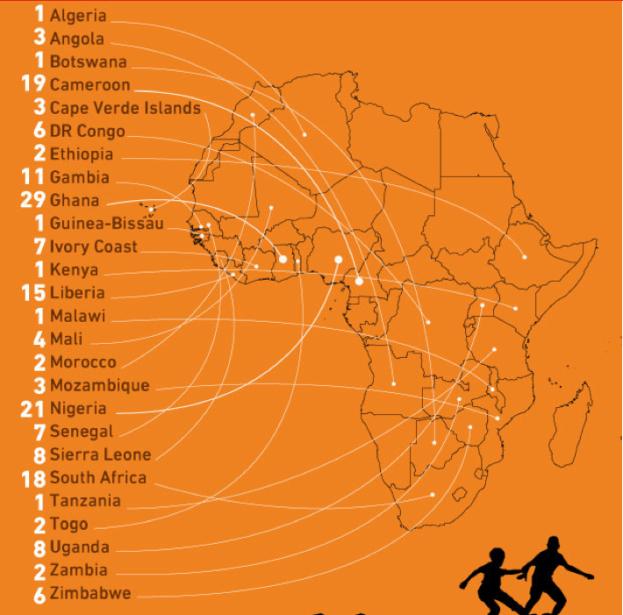 Mapa de Africanos en la MLS