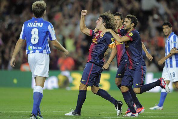 El capitán del Barcelona abrió la cuenta sobre la Real con un gran remat...
