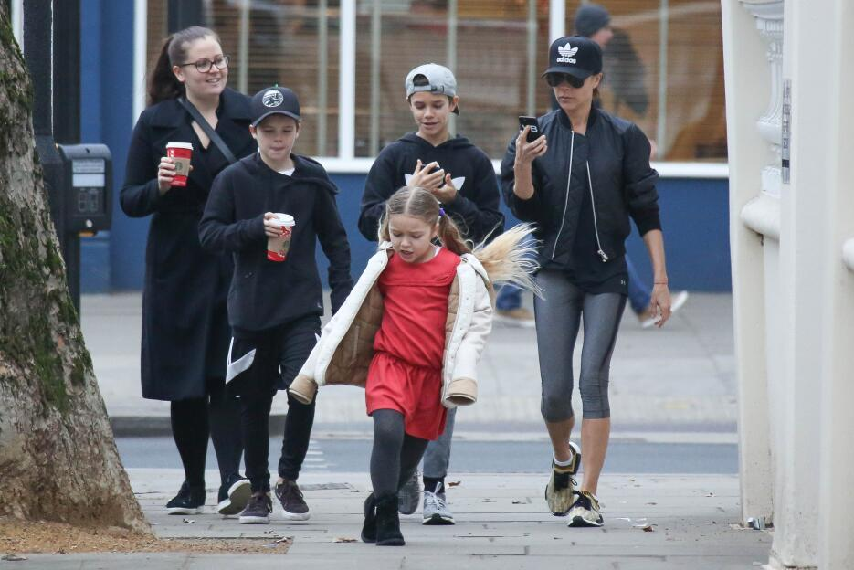 Victoria Beckham took her three youngest children and nanny out for coff...