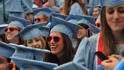 Estudiantes de la Universidad de Columbia durante una ceremonia de gradu...