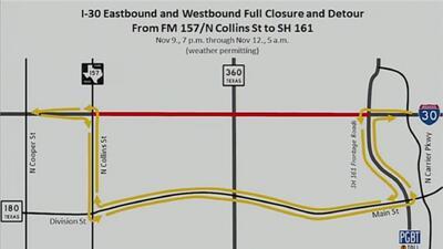 Parte de la Interestatal 30 de Arlington será cerrada durante este fin de semana por arreglos en la vía