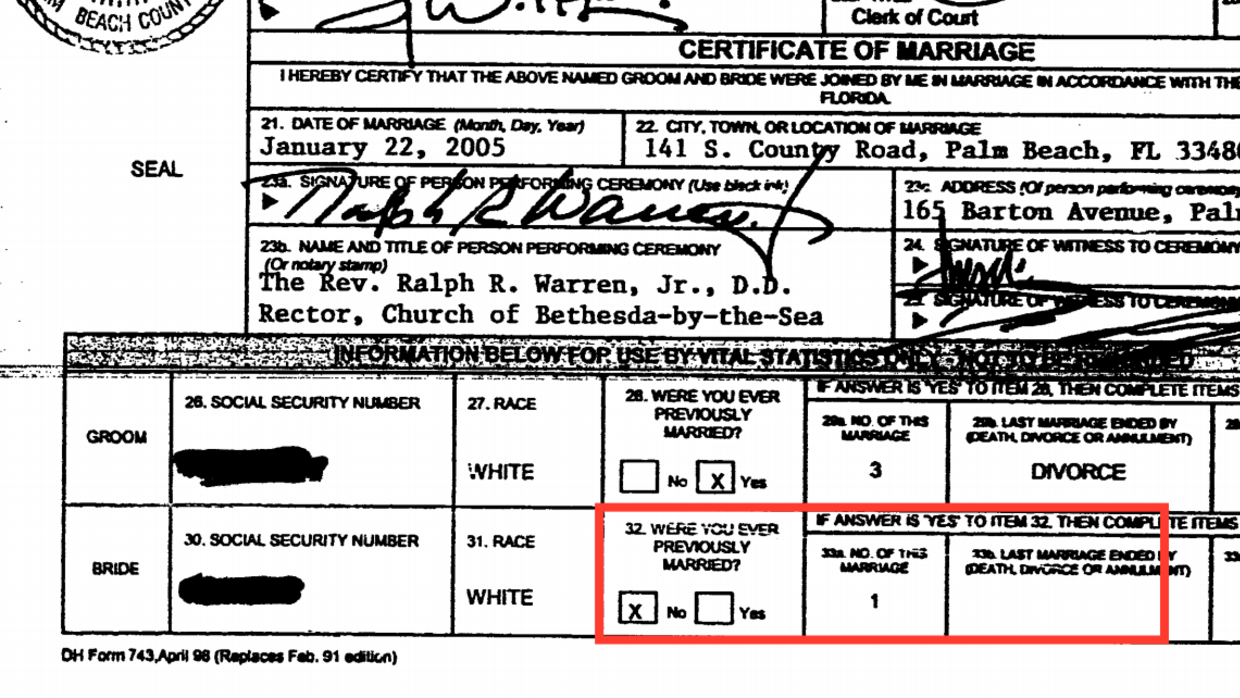 Melania trumps marriage license application reveals contradiction donald and melania trump39s florida marriage application xflitez Gallery
