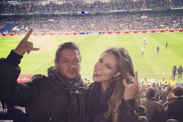 Aquí la presentadora mexicana en el Santiago Bernabéu.