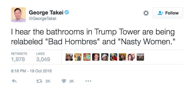 """He oído que los baños en Trump Towers han sido renombrados como """"Ba..."""