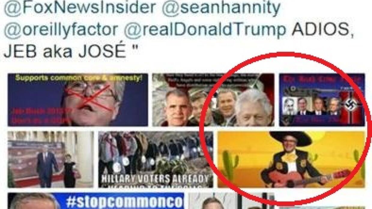 Tuit de Trump donde aparece el símbolo nazi
