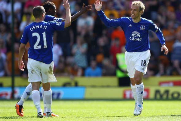 El festejo de los de Everton que sumaron 3 puntos de oro.