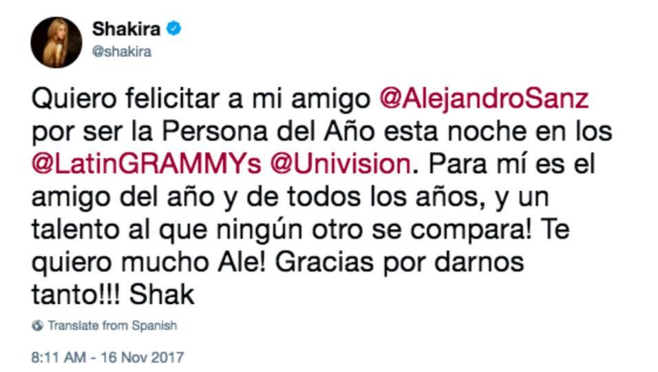 La artista utilizó su cuenta de Twitter para felicitar a Alejandr...