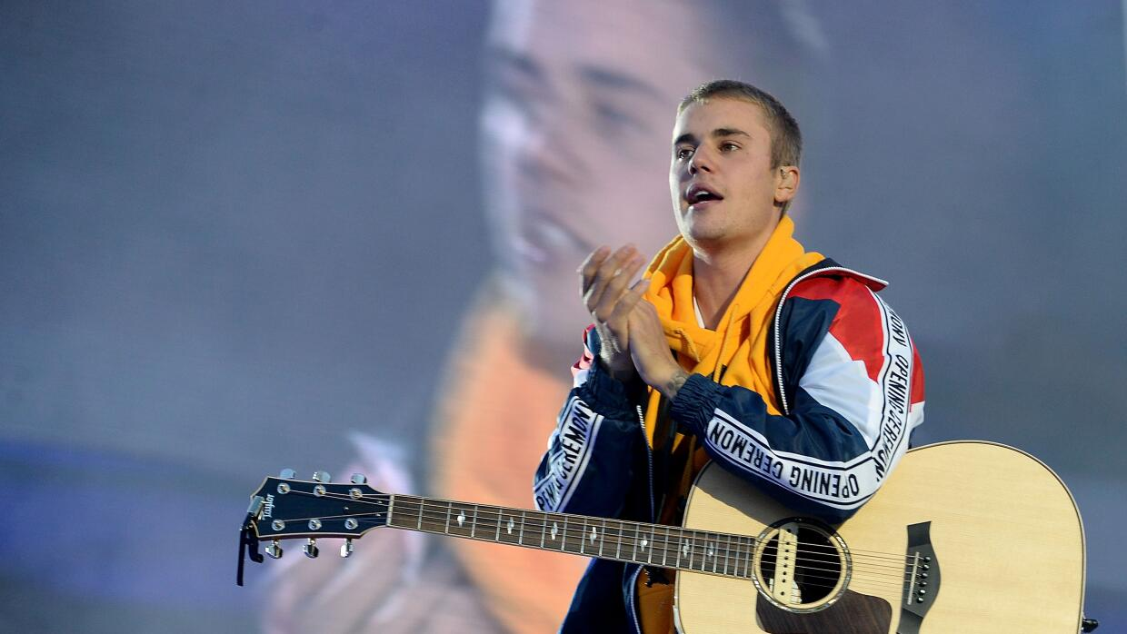 Canadian popstar Justin Bieber performs on stage at the 'One Love Manche...