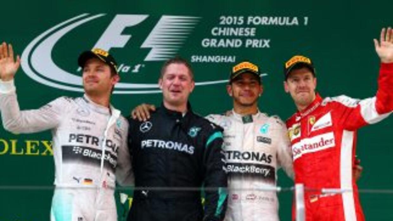 El podio del Gran Premio de China.