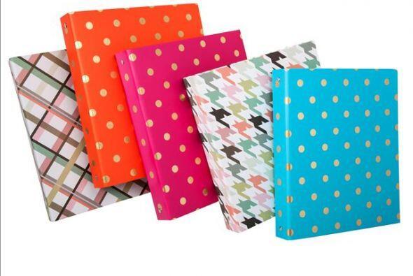 Las carpetas en variados patrones y colores tendrán todos tus apuntes en...
