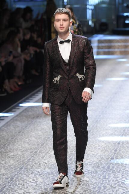 Rafferty Law walks the runway during the show for fashion house Dolce &a...