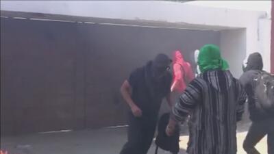 Protesta en Oaxaca termina con hechos violentos