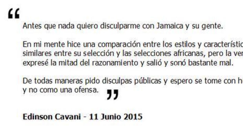 Este fue el mensaje que Cavani publicó para disculparse con Jamaica