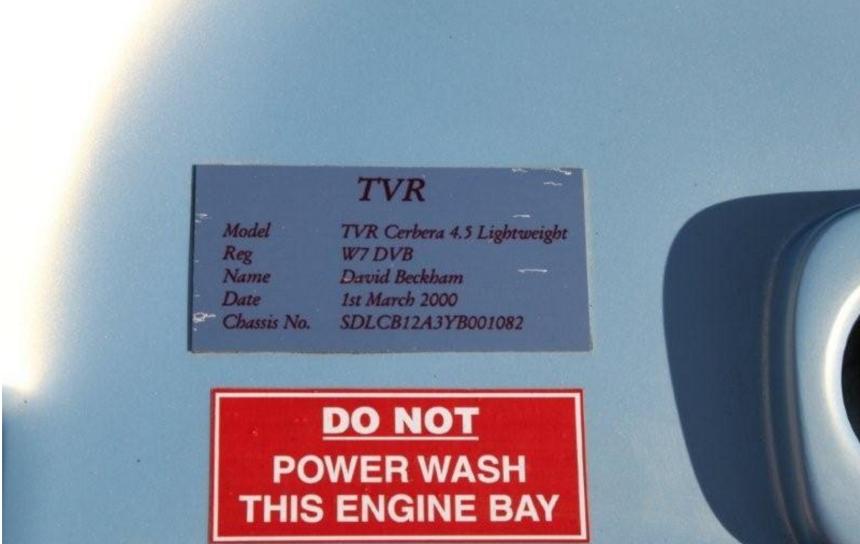El TVR Cerbera de David Beckham fue uno de lo que se cree que fue una pr...