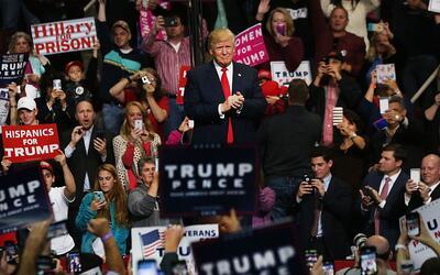 Donald Trump haciendo campaña en noviembre de 2016, en Pennsylvania.