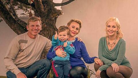 Igor Bitkov con su hijo Vladimir, su mujer Irina y su hija Anastasia.