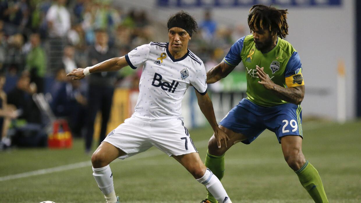 Christian Bolaños, Román Torres Vancouver Whitecaps vs. Seattle Sounders