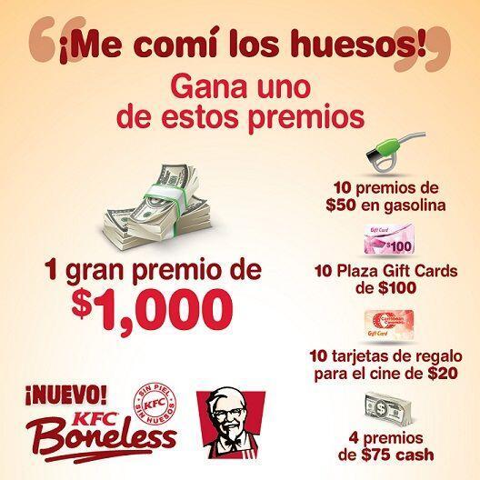 Prueba el nuevo KFC Boneless Chicken y podrías ganar muchos premios. Sól...