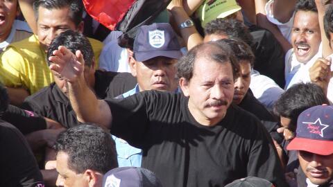 Nicaragua's President Daniel Ortega among the masses.