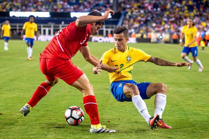 El ranking de los jugadores de Brasil vs Perú Coutinho.jpg