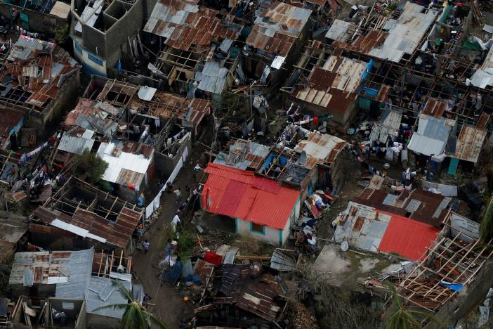 An aerial view of hard-hit Jeremie on the north coast of Haiti's sou...