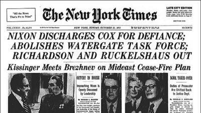 La portada del New York Times el 21 de octubre de 1973 sobre el despido...