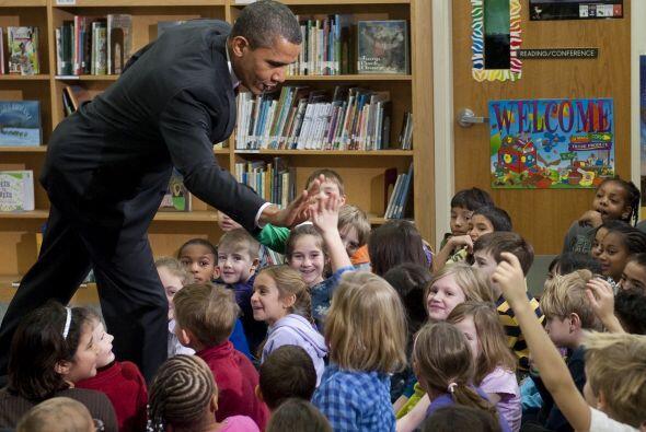 Algunos de los pequeños le dieron el 'high five' al presidente.