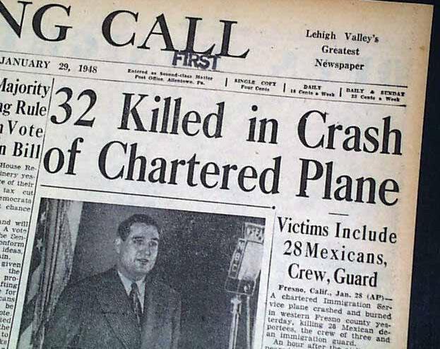 Tragedia California 28 deportados avionazo 1948