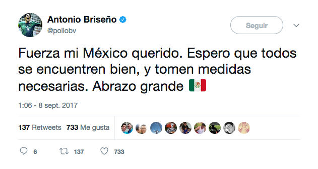 Así reaccionó en redes sociales el mundo del fútbol al temblor en México...