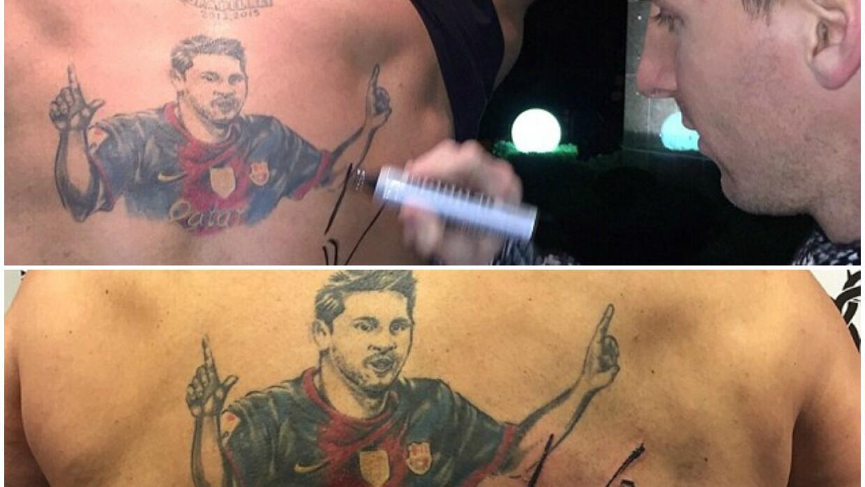 Messi plasmó su firma en un tatuaje