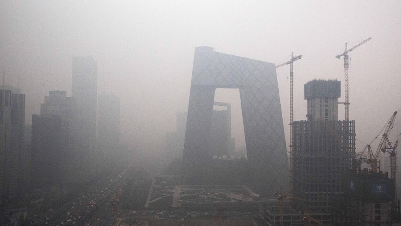 El distrito financiero de Pekín en penumbras