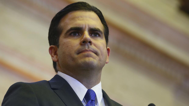 El gobernador de Puerto Rico, Ricardo Rosselló, se dirige a los l...