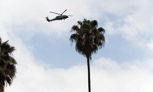 El aterrizaje del helicóptero presidencial del mandatario Obama.